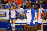 Florida Gators Volleyball player Simone Antwi during pre-game warm ups. Florida Gators Volleyball vs Mississippi State Bulldogs.  October 26th, 2014. Gator Country photo by David Bowie.