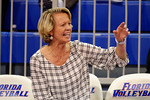 Florida Gators volleyball head coach Mary Wise yells out instructions for the Gators during the second set in the match.  Florida Gators Volleyball vs Mississippi State Bulldogs.  October 26th, 2014. Gator Country photo by David Bowie.