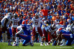 USC quarterback Dylan Thompson audibles at the line during the first quarter.  Florida Gators vs South Carolina Gamecocks.  November 14th, 2014. Gator Country photo by David Bowie.