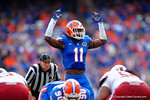 Florida Gators linebacker Neiron Ball motions to the crowd to get loud during the third quarter.  Florida Gators vs South Carolina Gamecocks.  November 14th, 2014. Gator Country photo by David Bowie.