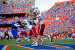 USC quarterback Dylan Thompson throws out of his own endzone during the fourth quarter.  Florida Gators vs South Carolina Gamecocks.  November 14th, 2014. Gator Country photo by David Bowie.