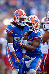 Florida Gators Marcell Harris and Chris Thompson celebrate following a big hit by Thompson during a kick return in the third quarter.  Florida Gators vs South Carolina Gamecocks.  November 14th, 2014. Gator Country photo by David Bowie.