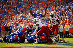 Florida Gators running back Matt Jones rushes into the endzone during the third quarter to put the Gators in the lead 17-10.  Florida Gators vs South Carolina Gamecocks.  November 14th, 2014. Gator Country photo by David Bowie.