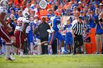 Florida Gators quarterback Treon Harris rushes upfield during the third quarter.  Florida Gators vs South Carolina Gamecocks.  November 14th, 2014. Gator Country photo by David Bowie.