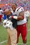 USC Gamecocks defensive tackle J.T. Surratt celebrates their victory over the Florida Gators.  Florida Gators vs South Carolina Gamecocks.  November 14th, 2014. Gator Country photo by David Bowie.