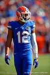 Florida Gators defensive back Quincey Wilson awaits play to resume during a timeout in the second quarter.  Florida Gators vs South Carolina Gamecocks.  November 14th, 2014. Gator Country photo by David Bowie.