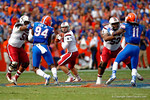 USC quarterback Dylan Thompson eyes downfield for an open receiver during the third quarter.  Florida Gators vs South Carolina Gamecocks.  November 14th, 2014. Gator Country photo by David Bowie.
