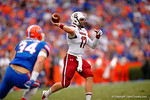 USC quarterback Dylan Thompson throws toward the sideline during overtime.  Florida Gators vs South Carolina Gamecocks.  November 14th, 2014. Gator Country photo by David Bowie.