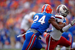 Florida Gators defensive back Brian Poole is called for pass interference late in the fourth quarter.  Florida Gators vs South Carolina Gamecocks.  November 14th, 2014. Gator Country photo by David Bowie.