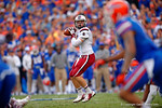 USC quarterback Dylan Thompson throws downfield during the fourth quarter.  Florida Gators vs South Carolina Gamecocks.  November 14th, 2014. Gator Country photo by David Bowie.