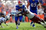 Florida Gators quarterback Treon Harris rushes upfield during the second quarter.  Florida Gators vs South Carolina Gamecocks.  November 14th, 2014. Gator Country photo by David Bowie.