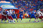Florida Gators running back Matt Jones rushes upfield through a huge hole during the second quarter.  Florida Gators vs South Carolina Gamecocks.  November 14th, 2014. Gator Country photo by David Bowie.
