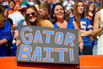 Two Gator fans hold up their Gator Bait sign.  Florida Gators vs South Carolina Gamecocks.  November 14th, 2014. Gator Country photo by David Bowie.