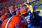 Baltimore Raves safety and former Gator Matt Elam pumps up the Gators before they take the field.  Florida Gators vs South Carolina Gamecocks.  November 14th, 2014. Gator Country photo by David Bowie.