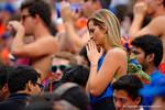 A Florida Gators fan prays for her team during the second quarter.  Florida Gators vs South Carolina Gamecocks.  November 14th, 2014. Gator Country photo by David Bowie.