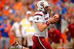 USC quarterback Dylan Thompson rushes into the endzone in overtime to defeat the Gators 23-20.  Florida Gators vs South Carolina Gamecocks.  November 14th, 2014. Gator Country photo by David Bowie.