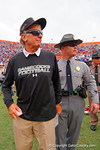 USC Gamecocks head coach Steve Spurrier walks off the field following their overtime victory.  Florida Gators vs South Carolina Gamecocks.  November 14th, 2014. Gator Country photo by David Bowie.