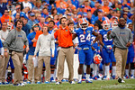 The Florida Gators coaching staff watches on during overtime.  Florida Gators vs South Carolina Gamecocks.  November 14th, 2014. Gator Country photo by David Bowie.