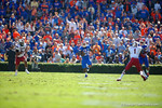 Florida Gators running back Kelvin Taylor rushes downfield with nothing but green in front of him during the second quarter.  Florida Gators vs South Carolina Gamecocks.  November 14th, 2014. Gator Country photo by David Bowie.