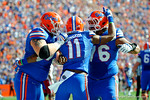 Florida Gators offensive linemen Max Garcia and Tyler Moore congratulate Demarcus Robinson after his touchdown in the second quarter.  Florida Gators vs South Carolina Gamecocks.  November 14th, 2014. Gator Country photo by David Bowie.