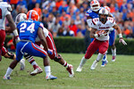 USC Gamecocks tailback Brandon Wilds rushes downfield during the fourth quarter.  Florida Gators vs South Carolina Gamecocks.  November 14th, 2014. Gator Country photo by David Bowie.