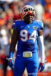 Florida Gators defensive lineman Bryan Cox, Jr. awaits play to resume during a timeout in the second quarter.  Florida Gators vs South Carolina Gamecocks.  November 14th, 2014. Gator Country photo by David Bowie.