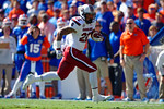USC Gamecocks tailback Brandon Wilds rushes into the endzone for a touchdown to put the Gamecocks up 7-0 on the opening drive of the game.   Florida Gators vs South Carolina Gamecocks.  November 14th, 2014. Gator Country photo by David Bowie.