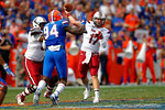 USC quarterback Dylan Thompson throws downfield during the third quarter.  Florida Gators vs South Carolina Gamecocks.  November 14th, 2014. Gator Country photo by David Bowie.