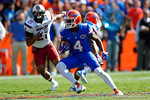 Florida Gators wide receiver Andre Debose rushes upfield during a punt return in the second quarter.  Florida Gators vs South Carolina Gamecocks.  November 14th, 2014. Gator Country photo by David Bowie.