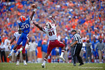 Florida Gators defensive back Marcus Maye leaps into the air to break up a pass to USC Gamecocks tight end Rory Anderson during the fourth quarter.  Florida Gators vs South Carolina Gamecocks.  November 14th, 2014. Gator Country photo by David Bowie.