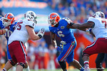 Florida Gators defensive lineman Dante Fowler, Jr. attempts to break from from the blocks during the second quarter.  Florida Gators vs South Carolina Gamecocks.  November 14th, 2014. Gator Country photo by David Bowie.