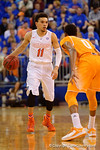 Florida Gators guard Chris Chiozza dribbles down court during the second half.  Florida Gators vs Tennessee Vols.  February 28th, 2015. Gator Country photo by David Bowie.