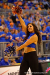 A Florida Gators Dazzler gator chomps during a dance routine.  Florida Gators vs Tennessee Vols.  February 28th, 2015. Gator Country photo by David Bowie.