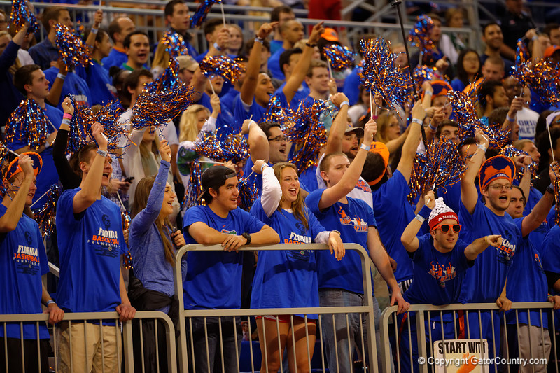 The Rowdy Reptiles cheer on their Gators in the first half.  Florida Gators vs Tennessee Vols.  February 28th, 2015. Gator Country photo by David Bowie.