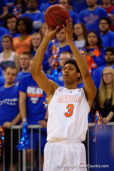 Florida Gators forward Devin Robinson makes a three pointer during the second half.  Florida Gators vs Tennessee Vols.  February 28th, 2015. Gator Country photo by David Bowie.