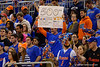 One of the Rowdy Reptiles holds up a sign showing his support for Florida Gators head coach Billy Donovan and his 500th win.  Florida Gators vs Tennessee Vols.  February 28th, 2015. Gator Country photo by David Bowie.