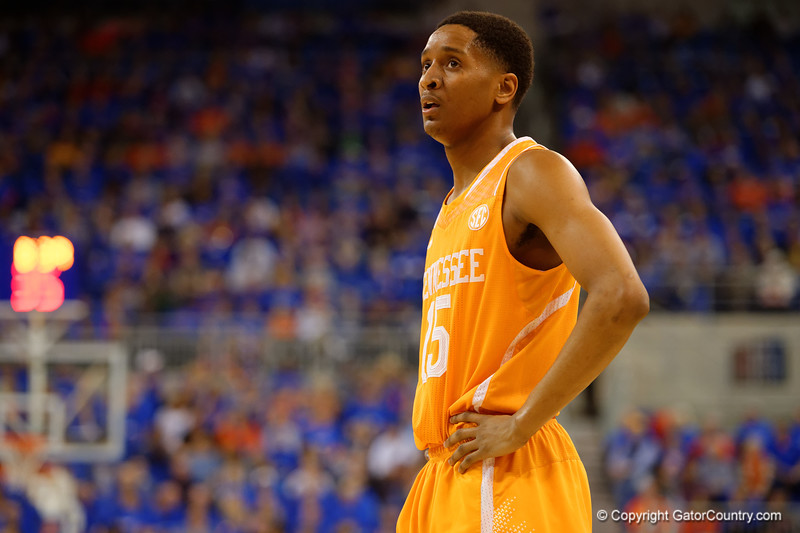 Tennessee Volunteers guard Detrick Mostella.  Florida Gators vs Tennessee Vols.  February 28th, 2015. Gator Country photo by David Bowie.