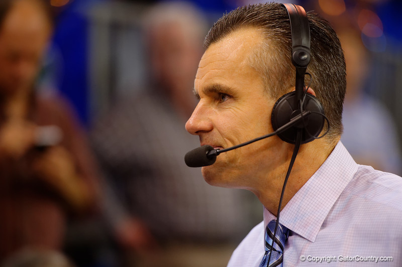 Florida Gators head coach Billy Donovan during an interview post game celebrating his 500th win.  Florida Gators vs Tennessee Vols.  February 28th, 2015. Gator Country photo by David Bowie.