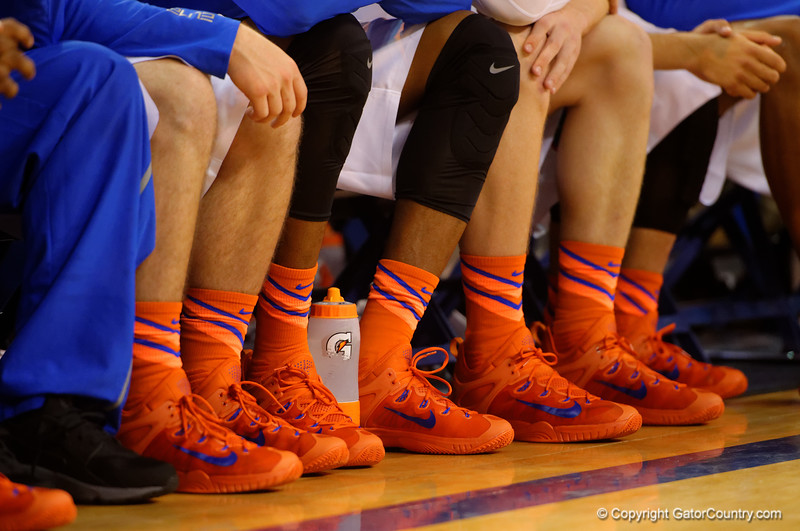 The new Nike shows and socks being worn by the Gators.  Florida Gators vs Tennessee Vols.  February 28th, 2015. Gator Country photo by David Bowie.