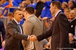 Florida Gators head coach Billy Donovan walks onto the court and greets the Tennessee coaches.  Florida Gators vs Tennessee Vols.  February 28th, 2015. Gator Country photo by David Bowie.