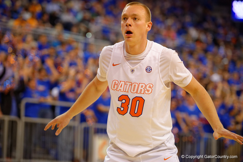 Florida Gators forward Jacob Kurtz waits for the a inbound pass while on the full court press.  Florida Gators vs Tennessee Vols.  February 28th, 2015. Gator Country photo by David Bowie.