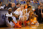 Florida Gators forward Chris Walker, Florida Gators forward Alex Murphy and Florida Gators forward Devin Robinson wait to enter the game.  Florida Gators vs Tennessee Vols.  February 28th, 2015. Gator Country photo by David Bowie.