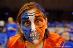 A Gators fan poses for the camera wearing her orange and blue skeleton make up.  Florida Gators vs Tennessee Vols.  February 28th, 2015. Gator Country photo by David Bowie.