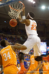 Florida Gators forward Chris Walker goes up for a behind the back dunk during the first half.  Florida Gators vs Tennessee Vols.  February 28th, 2015. Gator Country photo by David Bowie.