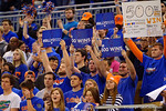 The fans hold up signs and show their support for Florida Gators head coach Billy Donovan in the closing seconds of the game which gave Donovan his 500th win.  Florida Gators vs Tennessee Vols.  February 28th, 2015. Gator Country photo by David Bowie.