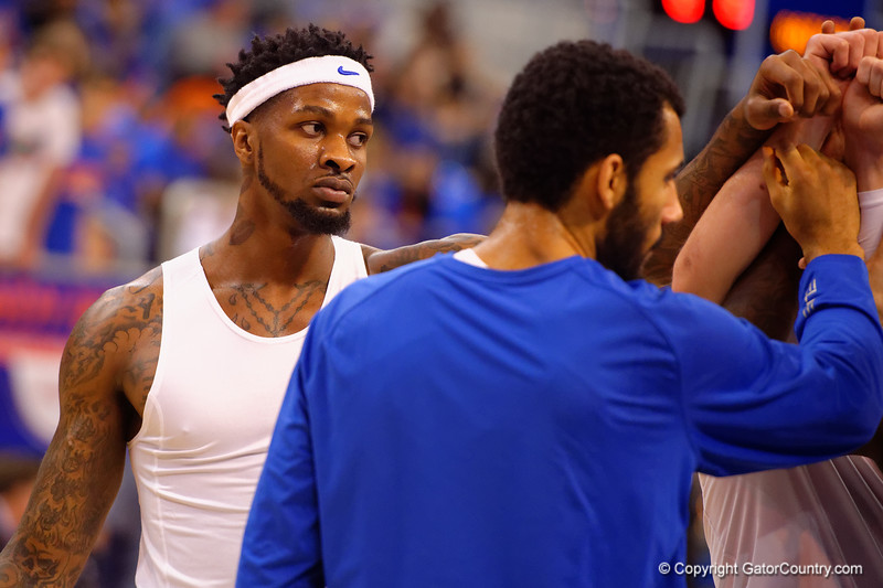 Florida Gators forward Chris Walker and the Florida Gators huddle together before the start of the game.  Florida Gators vs Tennessee Vols.  February 28th, 2015. Gator Country photo by David Bowie.
