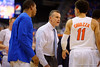 Florida Gators head coach Billy Donovan has a few choice words for Florida Gators guard Chris Chiozza during a timeout in the second half.  Florida Gators vs Tennessee Vols.  February 28th, 2015. Gator Country photo by David Bowie.