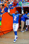 Florida Gators defensive back Jabari Gorman points to the skies during senior day introductions.  Florida Gators vs Eastern Kentucky Colonels.  November 22th, 2014. Gator Country photo by David Bowie.