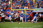Florida Gators quarterback Treon Harris throws deep downfield during the second quarter.  Florida Gators vs Eastern Kentucky Colonels.  November 22th, 2014. Gator Country photo by David Bowie.