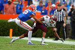 Florida Gators defensive back Quincey Wilson breaks up a pass to EKU  wide receiver Devin Borders.  Florida Gators vs Eastern Kentucky Colonels.  November 22th, 2014. Gator Country photo by David Bowie.